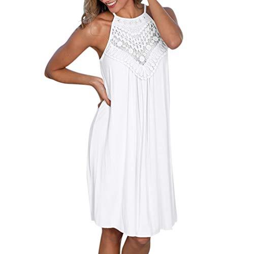 Funnygals Women's Halter Neck Summer Dress Sleeveless Hollow Out Casual Sundress A-Line Knee Length Midi Dress Beach Wear White