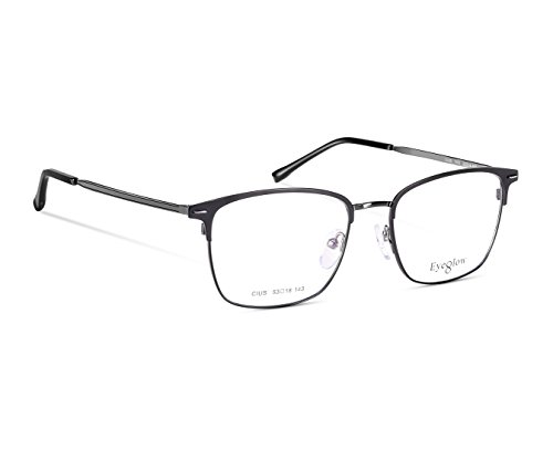 EyeGlow Rectangular Eyeglasses Frame Prescription Glasses Frame Double Color Plating 7501 Ultra Lightweight 17.6g (Black grey, clear demo - Eyeglasses Frames Salt