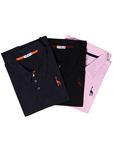- H2H Mens Classic Solid Giraffe Polo Shirts with Giraffe Embroidery Set MULTI5 US M/Asia XL (SET3JDSK36)