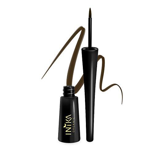Inika Certified Organic Liquid Eyeliner, All Natural Formula, Vegan, Aloe Vera, Long Lasting, Intense Color, Smudge Proof, Suits Sensitive Eyes 3.5 ml (Brown)