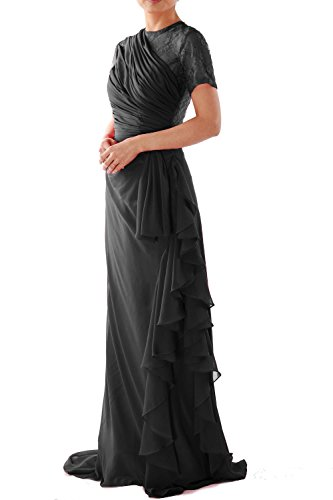 MACloth Women Short Sleeve Long Mother of Bride Dress Wedding Party Formal Gown Negro