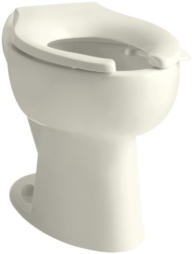 KOHLER K-4301-L-96 Highcrest 1.6 GPF ADA Elongated Toilet Bowl with Rear Inlet and Bedpan Lugs, 16-1/2-Inch, Biscuit - Highcrest Toilet Bowl