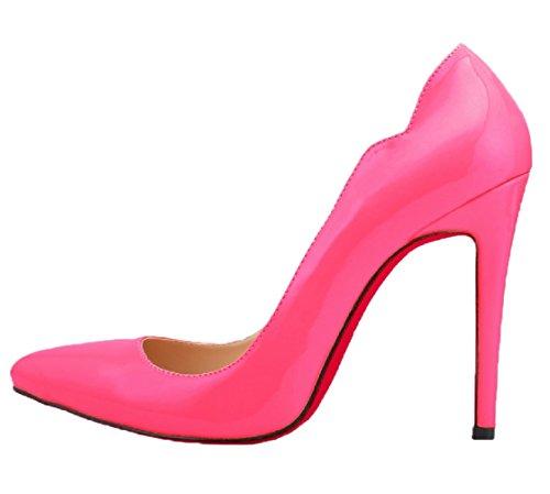 de de HooH roja Zapatos Mujer Beige tacón Boda Suela estiletes Zapatos tacón Ponerse 1vxFwqwAU