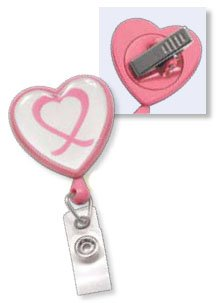 Pink Breast Cancer Awareness Heart-Shaped Badge Reel - Swivel Back - Clear Vinyl Strap (100pk)