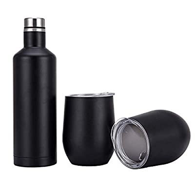 Yoelike Double Wall Vacuum Insulated Stainless Steel 18 oz Bottle 12 oz Wine Tumblers Set for Gift