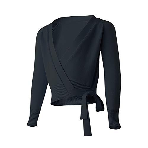 Xiao Jian Winter Warm Dance Sweater Adult Female Knit Long Sleeve Dance Clothes Ballet Exercise Clothes Jacket Coat Dancing unifom (Color : Black, Size : XL165-175)