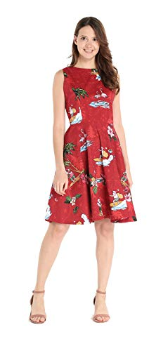 Hawaii Hangover Women's Vintage Fit and Flare Dress M Christmas Santa in Hawaii in Red -
