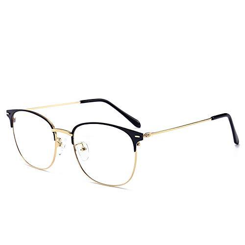 Blue Light Blocking Computer Glasses Vintage Metal Frame Eyeglasses Clear Lens Filter UV Light Anti Fatigue Lightweight for Men Women (Gold Black)