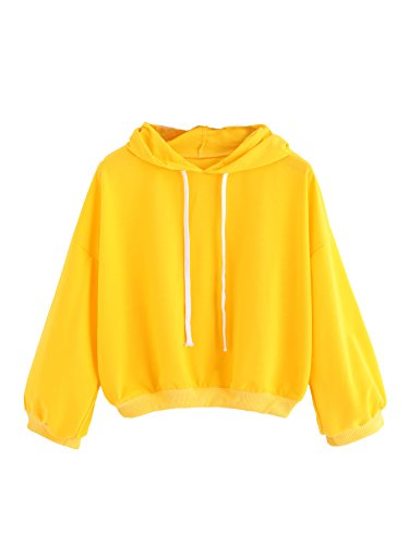 ROMWE Women's Drop Shoulder Long Sleeve Hooded Drawstring Comfy Sweatshirt Yellow XL