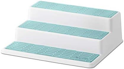 Copco Non-Skid 3-Tier Spice Pantry Kitchen Cabinet Organizer, 10-Inch, White/Aqua