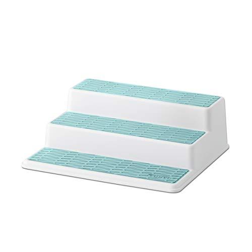 Copco 5234760 Non-Skid 3-Tier Spice Pantry Kitchen Cabinet Organizer, 10-Inch, White/Aqua