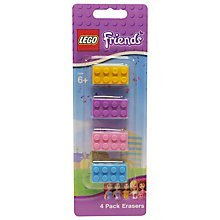 Lego Friends 4 Pack Erasers (Lego Friends Brick Erasers)
