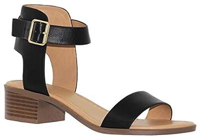 MVE Shoes Women's Single Strap Peep Toe - Open Ankle Low Heel Sandal - Chunky Heel Sandal