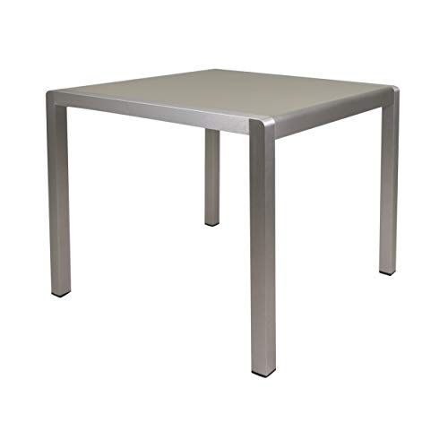 Christopher Knight Home Louie Coral Outdoor Dining Anodized Aluminum-Tempered Glass Table Top-Square Gray-35, Silver
