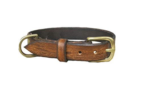 Vintage Brown Leather Dog Collar, Solid Brass Hardware, Ideal for All Breeds, Adjustable Collar, YupCollars, Made in Italy