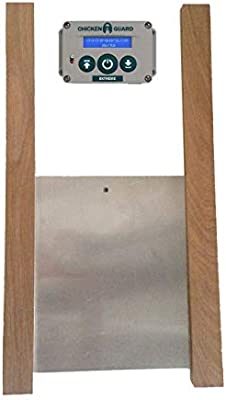 chickenguard extreme automatic chicken coop pop door opener & door kit  combo | outdoor/indoor auto door opener, chicken coop accessories