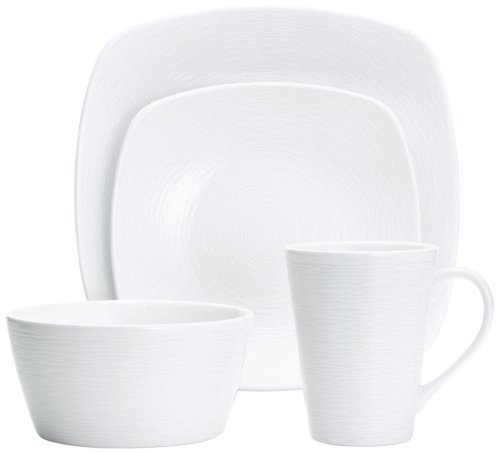 Noritake 4-Piece Square White on White Place Setting, Swirl
