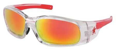 Crews Red/Orange Mirror Safety Glasses, Scratch-Resistant