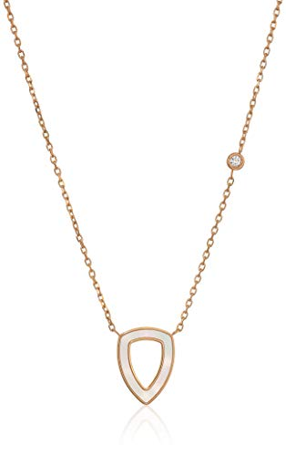 - Fossil Women's Geometric Rose Gold-Tone Stainless Steel Necklace, Rose Gold Tone, Mother of Pearl