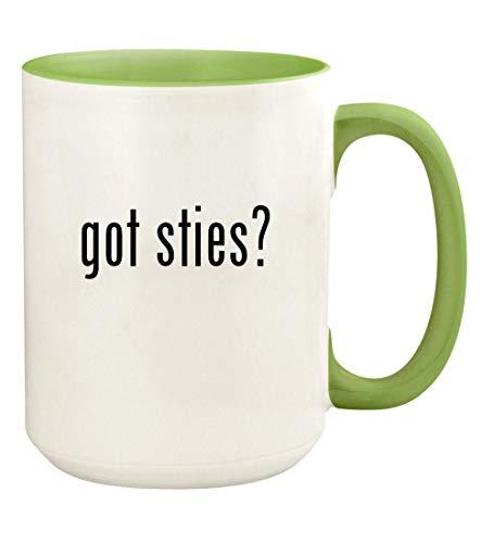 got sties? - 15oz Ceramic Colored Handle and Inside Coffee Mug Cup, Light Green ()