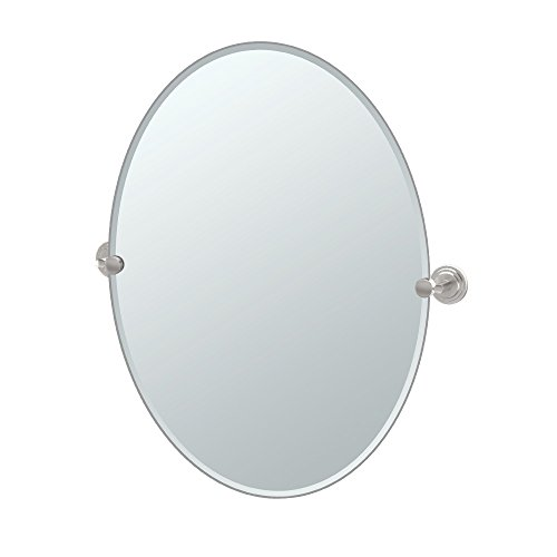 Gatco 5859LG Marina Large Oval Wall Mirror, Satin Nickel