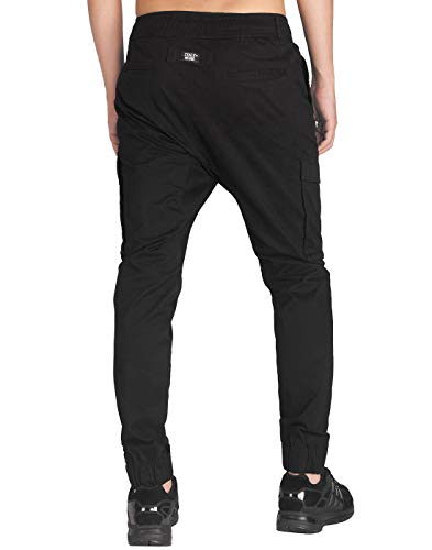 Fit Homme Pantalon Casual Slim Noir Morn Italy Chino Cargo Hzwxv6qH0