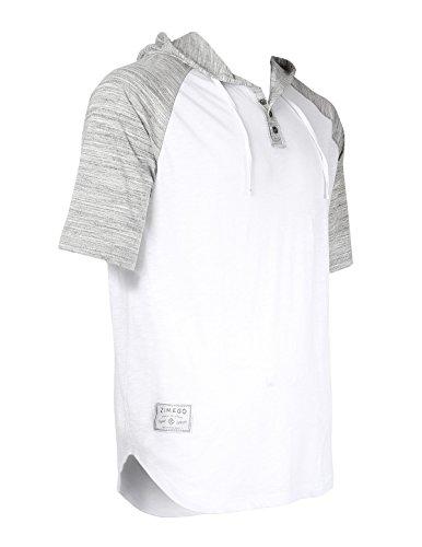 ZIMEGO Short Sleeve Raglan Henley Hoodie Round Bottom Semi Longline T-Shirt (XX-Large, White Fulfilled by by ZIMEGO (Image #2)