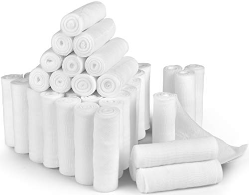 D&H Medical 24 Bulk Pack Gauze Stretch Bandage Roll, 4 Inch X 4 Yards FDA Approved, Used for Wound Care, Easy To Use Cotton Ply Rolled Hand Wrap Dressing Ankles & Knees. Add To First Aid Supplies.]()
