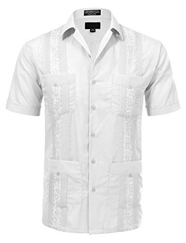 JD Apparel Men's Short Sleeve Cuban Guayabera Shirts19-19.5N 3XL White