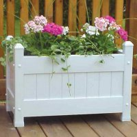Cute And Stylish Outdoor Patio Planter Box With Traditional Design, High-Grade PVC Vinyl Construction, Durable Weatherproof And Maintenance-Free, UV Stabilizers, Open Bottom Slat, White (Slat Vinyl Planter)
