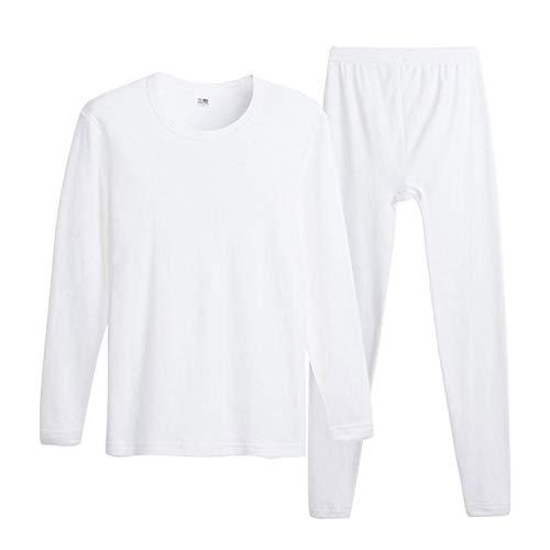 Cotton Winter Men's O-Neck Warm Long Johns Set Ultra-Soft Thermal Underwear Termica Undershirt Merino Pants Pajama,White,XXXL (Polypro Womens Pants)
