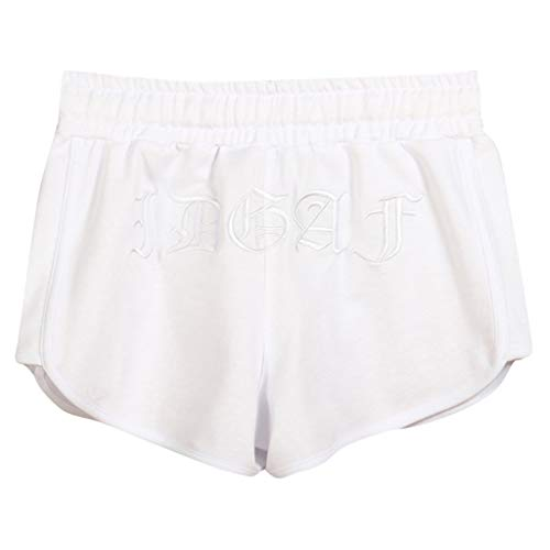 TOPUNDER Home Shorts Women's Summer Cotton Sports Casual Embroidered Shorts White