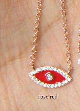 2018 5 Colors Luxury Cute Turkish Evil Eye Dainty Enamel Red Pink White Blue 100% 925 Sterling Silver Choker Necklace
