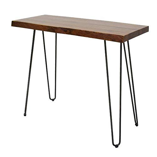 Live Edge Acacia Wood and Powder Coated Metal Console Table + Free Basic Design Concepts Expert Guide