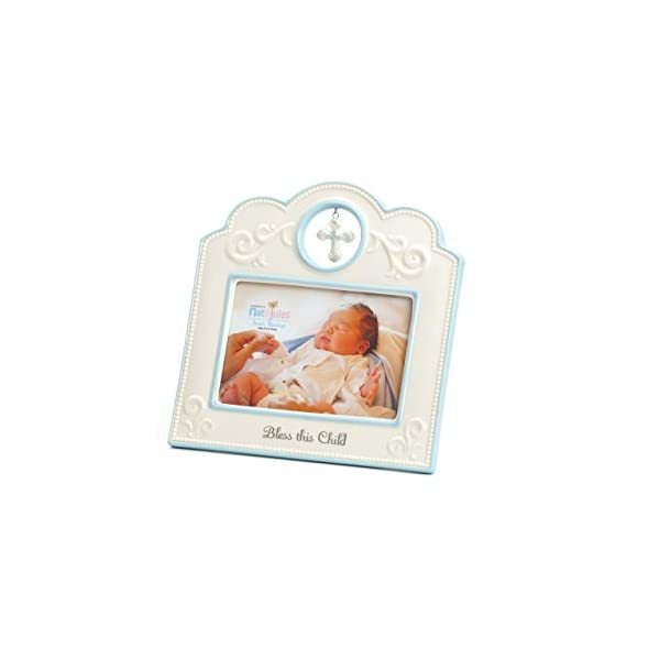 DEMDACO Blue Bless This Child 8 x 8 Porcelain Picture Frame
