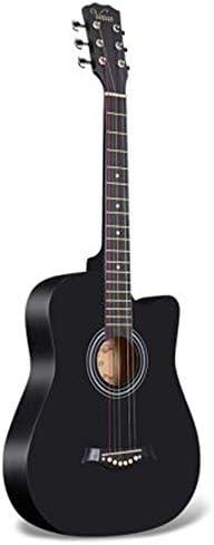 アコースティックギター 学生の練習フォークギター初心者ギター木製ギター 初心者セット (色 : Black, Size : 38 inches)