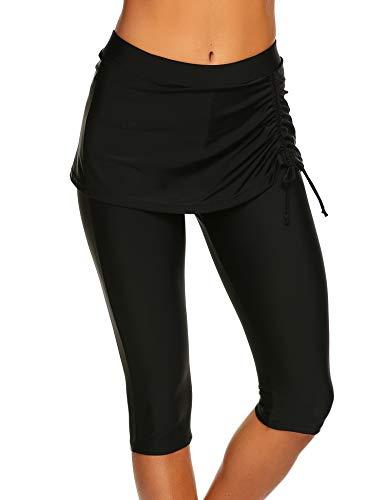 Sheshow Women's Modest Swim Capris Swim Bottom Active Sport UV Long Bike Shorts Black