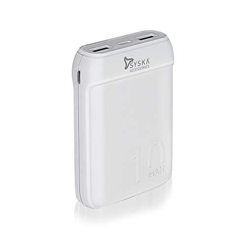 Syska 10000 mAh Li Polymer P1016B Power Pocket100 Power Bank  White