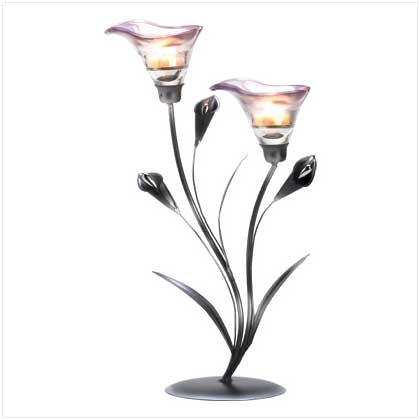 Two-Blossom Calla Lily Candle Holder