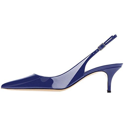 Lovirs Women s Slingback Ankel Strap Sandaler Stiletto Midten Hæl Spisse Tå Pumper Sko For Kjole Blå