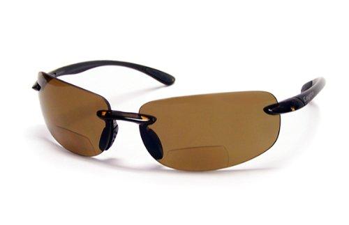 Coyote Eyewear BP-5 Rimless Polarized Reader Sunglasses (+2.50 Power,Tortoise/brown)