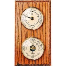 Bey-Berk WS117 Tide Clock and Barometer with Thermometer on Oak Wood with Brass Bezel. Wall Mounts Vertically or Horizontally, Brown