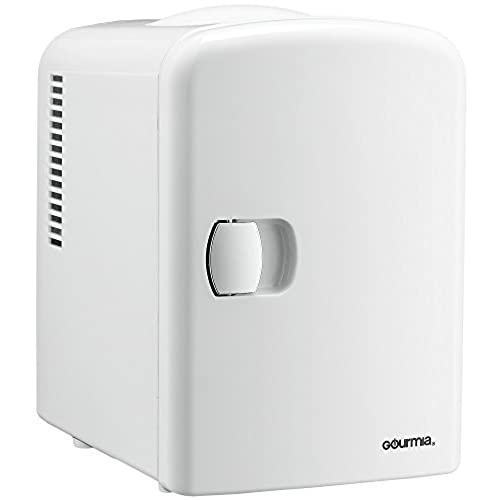 Gourmia GMF600 Portable 6 Can Mini Fridge Cooler And Warmer For  Home,Office, Car Or Boat AC U0026 DC, White   110V