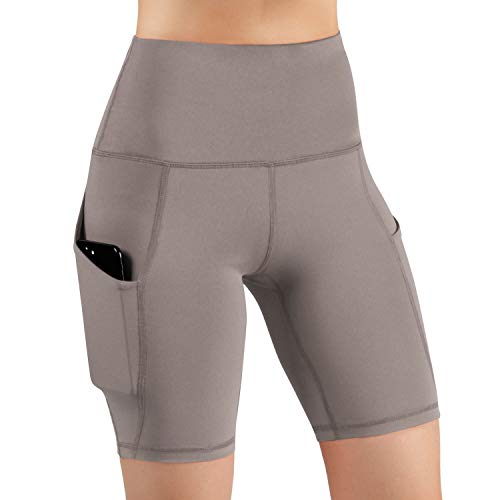 (ODODOS High Waist Out Pocket Yoga Short Tummy Control Workout Running Athletic Non See-Through Yoga Shorts,DarkBeige,XX-Large)