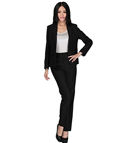 YUNCLOS Women's 2 Piece Slim Fit Suits Set For Business Office Lady Blazer Jacket Pants