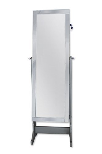Iconic Home Glam Contemporary Classic Silver Mirror-Border Cheval Mirror Jewelry Armoire