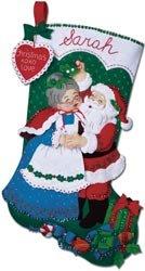 Bucilla Musical Felt Applique Christmas Stocking Kit UNDER THE MISTLETOE