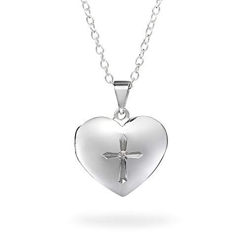 Things Remembered Personalized Girls Cross Heart Locket with Engraving Included ()