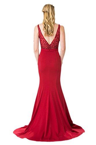 Milano Bride Dunkel Rot Stickreien Schmaler Schnitt Abendkleider  Ballkleider Partykleider Festlichkleider lang