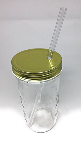 Glass Mason Drinking Jars with 2 Gold Lids, 2 Glass Straws (10''x 9.5mm) and 1 Straw Cleaner (24oz wide mouth, gold) (2) by Variety (Image #2)
